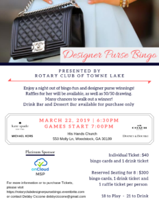 Designer Purse Bingo - Towne Lake Rotary Fundraiser - Woodstock @ His Hands Church